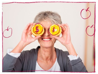 Older woman with lemons on her eyes